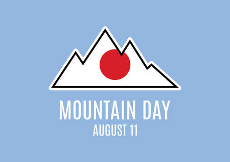 Mountain with japanese flag abstract icon vector.