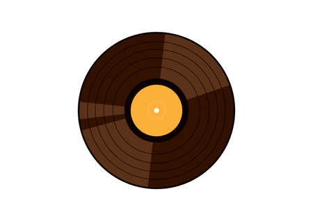 Retro vinyl record icon vector. Old gramophone record vector. Vinyl record icon isolated on a white background