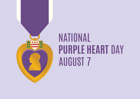 National Purple Heart Day vector. Purple Heart medal vector. Purple Heart Day Poster, August 7. Important day