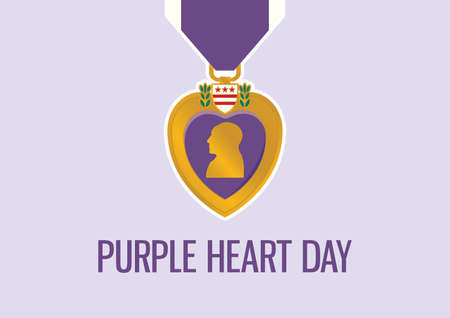 Purple Heart Day vector. Purple Heart medal icon vector. United States military decoration illustration. Important day  イラスト・ベクター素材