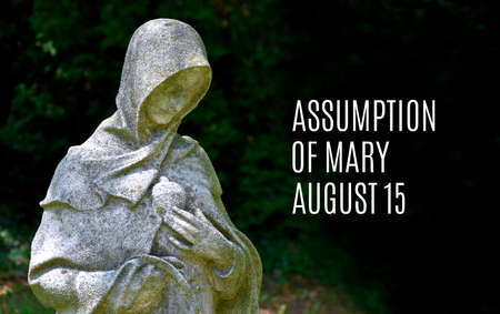 Assumption of Mary stock images. Feast of the Assumption images. Virgin Mary statue images. Assumption of Mary Poster, August 15. Important day
