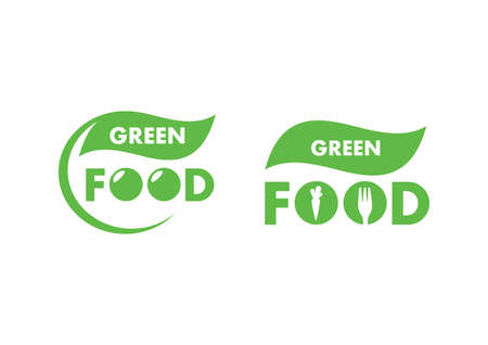 Modern green food fresh  icon set vector images. Healthy food icon set. For healthy lifestyle. Green food icon isolated on a white background  イラスト・ベクター素材