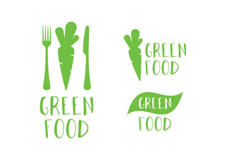 Modern green food fresh  with carrots and cutlery icon set vector. Healthy food icon set. For healthy lifestyle. Green food icon isolated on a white background