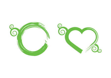 Grunge green fresh symbol icon set vector. Green floral heart shape vector. Grunge eco circle icon. Logo for healthy lifestyle isolated on a white background