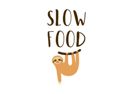 Slow food with sloth logo vector. Logo for healthy lifestyle. Healthy food icon isolated on a white bacground. Cute sloth with the inscription Slow food