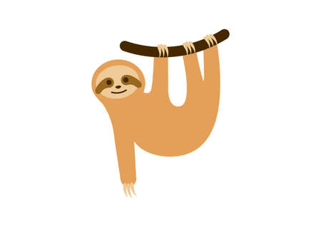 Cute sloth on a branch icon vector. Sloth cartoon character. Cheerful sloth simple icon isolated on a white background