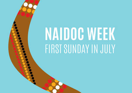 NAIDOC Week vector. Australian holiday. Boomerang detail on a blue background. Celebration of Indigenous Peoples. NAIDOC Week Poster, first Sunday in July. Important day