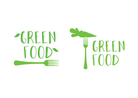 Modern green food fresh symbol with fork icon set vector. Healthy food icon set. Symbol for healthy lifestyle. Green food icon isolated on a white background
