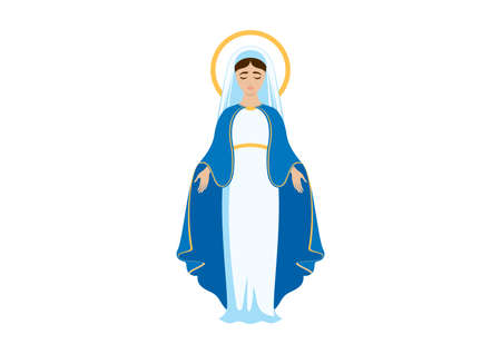 Holy Virgin Mary icon vector. Assumption of Mary vector illustration. Beautiful Virgin Mary icon isolated on a white background Ilustrace
