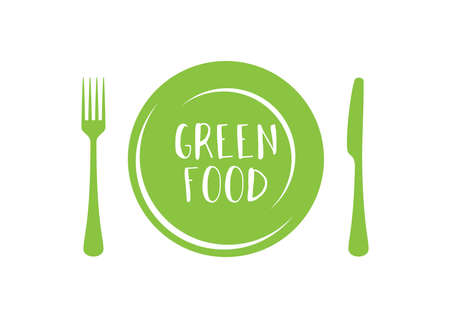 Modern green food fresh symbol with with plate and cutlery icon vector. Symbol for healthy lifestyle. Green food icon isolated on a white background. Green food inscription on a plate vector