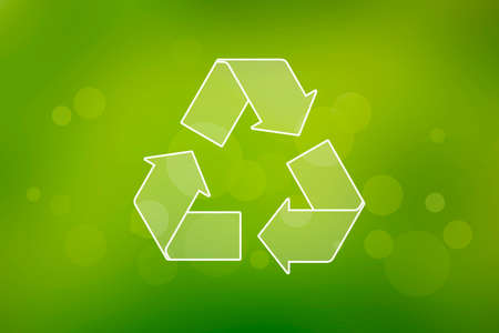 Recycling symbol on a green background. Abstract green recycling symbol. Recycle symbol icon. Environment background image