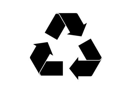 Black arrows recycling eco symbol icon vector. Recycle symbol silhouette icon isolated on a white background. Environment icon vector