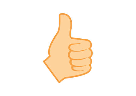 Thumb up like hand icon vector. Like hand symbol vector. Left hand thumb up vector icon. Thumb up hand icon isolated on a white background  イラスト・ベクター素材