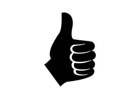 Thumb up like hand black silhouette icon vector. Like hand symbol vector. Left hand thumb up vector icon. Thumb up hand icon isolated on a white background  イラスト・ベクター素材