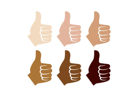 Thumb up like hand different skin colors silhouette icon vector. Like hand symbol vector. Left hand thumb up vector icon. Human hand with different skin tone color vector