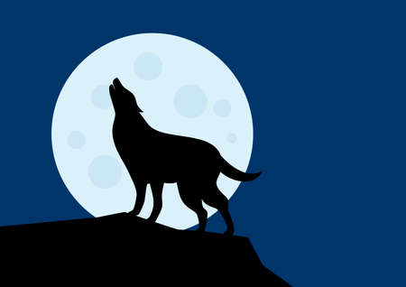 Wolf howling at the full moon silhouette vector. Silhouette of a wolf in the night landscape vector illustration. Halloween background with howling wolf  イラスト・ベクター素材