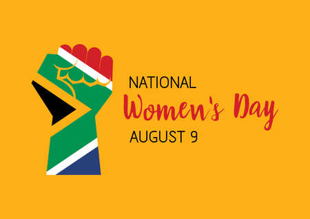 National Women's Day August 9 vector. Flag of South Africa in the shape of a clenched fist vector. Hand with South African flag icon. Fist raised in protest vector. South African holiday, August 9