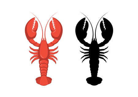 Red and black lobster icon set vector. Lobster black silhouette. Favorite seafood vector. Lobster icon isolated on a white background