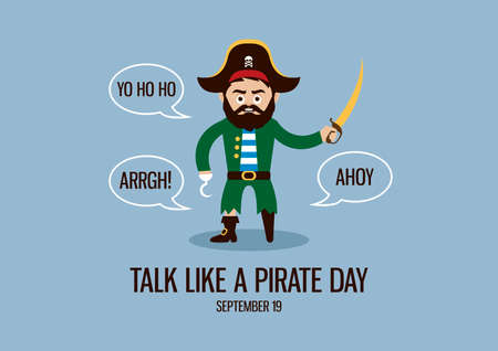 International Talk Like a Pirate Day vector. Sea captain with wooden leg and hook vector. Talking pirate cartoon character. Funny holiday. Talk Like a Pirate Day Poster, September 19. Important day