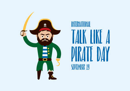 International Talk Like a Pirate Day vector. Sea captain with wooden leg and hook vector. Angry pirate cartoon character. Funny holiday. Talk Like a Pirate Day Poster, September 19. Important day