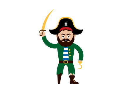 Pirate captain with wooden leg and hook vector. Angry pirate cartoon character. Pirate captain with saber vector. Funny pirate sailor icon isolated on a white background