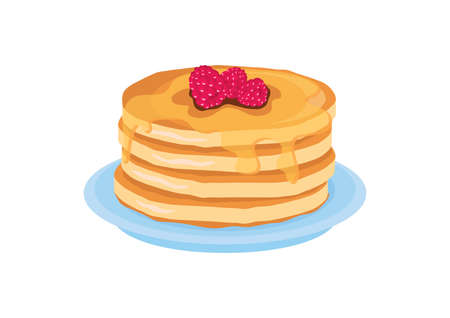 Pancakes with syrup and raspberries icon vector. Pile of pancakes on a plate vector. Delicious pancakes icon isolated on a white background