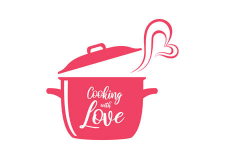 Cooking with Love pink inscription vector. Cooking with Love lettering design for kitchen vector. Cooking pot with heart icon isolated on a white background
