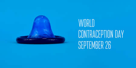 World Contraception Day stock images. Blue condom on a blue background stock images. Contraception Day Poster, September 26. Important day Stock Photo