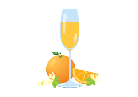 Mimosa drink with orange fruit icon vector. Glass of champagne with orange juice vector illustration. Champagne with orange vector. Mimosa drink icon isolated on a white background. Alcoholic cocktail