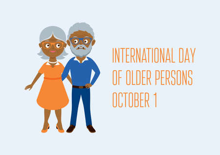 International Day of Older Persons vector. Happy and smiling african american elderly senior couple vector. Happy old man and woman vector. Senior couple cartoon character. Grandpa and Grandma icon