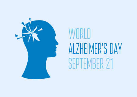 World Alzheimer's Day vector. Head of a man with mental illness vector. People with Alzheimer's disease icon vector. Mental health icon. Alzheimer's Day Poster, September 21. Important day