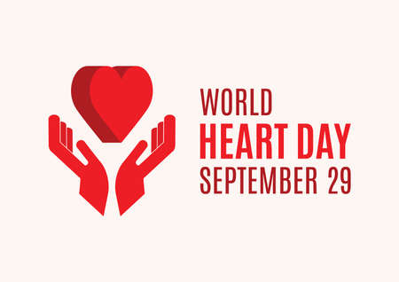 World Heart Day Poster with Hands with Heart vector. Two human hands with red heart shape icon. Caring hands holding a heart vector. Heart Day Poster, September 29. Important day