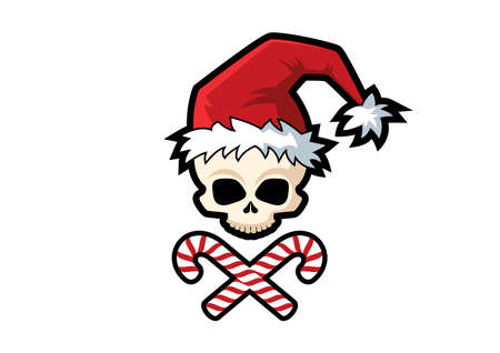 Scary Santa Claus Skull icon vector. The skull of Santa Claus with crossed candies cartoon character. Spooky Santa icon isolated on a white background. Scary Christmas symbol vector