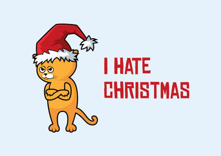 Grumpy cat with Christmas hat vector. Funny angry Christmas cat cartoon character. I Hate Christmas greeting card with a cat in a Santa hat. Red cat with arms crossed vector