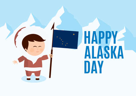 Happy Alaska Day vector. Cute Inuit with Alaska flag cartoon character. Alaskan people in a winter landscape vector. Important day