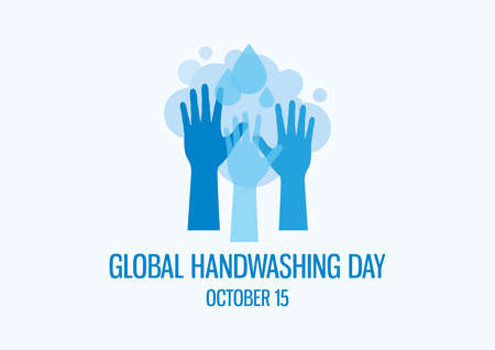 Global Handwashing Day vector. Hands silhouette with water drop vector. Washing hands icon vector. Silhouette of hands with soap suds vector. Handwashing Day Poster, October 15. Important day 일러스트