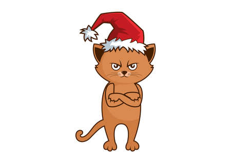 Grumpy cat with Christmas hat icon vector. Funny angry Christmas cat cartoon character. I Hate Christmas Cat in a Santa hat icon isolated on a white background. Red cat with arms crossed vector