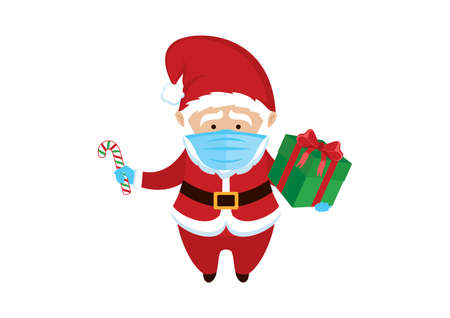 Santa Claus wearing medical mask on face to prevent. Santa Claus with protective mask holding gift box cartoon character.