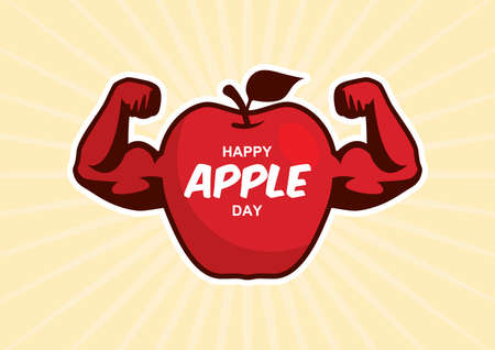 Happy Apple Day Poster with strong apple icon vector. Muscular red apple icon vector. Apple with muscle arms cartoon character. Important day
