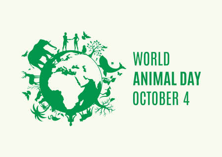 World Animal Day Poster with green Planet Earth with animals and plants icon vector. Silhouette of Planet Earth with fauna and flora icon. Environment vector icon. Animal Day Poster, October 4 일러스트