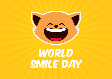 World Smile Day vector. Laughing cat icon vector. Cheerful cat cartoon character. Happy cat expression vector. Important day 일러스트