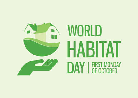 World Habitat Day vector. Hand with green house icon. Abstract realty icon vector. Home simple clip art. Green housing icon vector. Habitat Day Poster, first Monday of October. Important day
