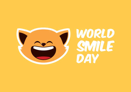 World Smile Day Poster with laughing cat icon vector. Cheerful cat cartoon character. Happy cat expression vector. Laughing cat icon isolated on a yellow background vector. Important day