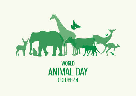 World Animal Day Poster with green silhouettes of wild animals icon vector. Wild animals silhouette set. Environment vector icon. Group of animals icon. Animal Day Poster, October 4. Important day