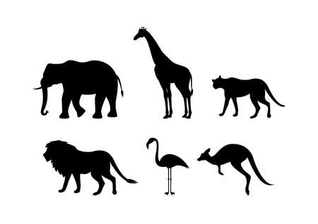 Different types of wild animals silhouette icon set vector. Black silhouettes of wild animals icon vector. Group of animals icon set isolated on a white background