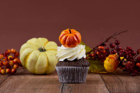 Halloween cupcake with pumpkin on a wooden background stock images. Pumpkin cupcake with vanilla cream stock images. Autumn still life with pumpkin cupcake on a brown background with copy space