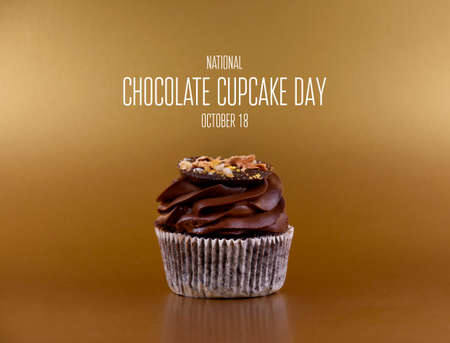National Chocolate Cupcake Day stock images. Delicious chocolate cream cupcake on a golden background stock images. Chocolate Cupcake Day Poster, October 18. Important day 스톡 콘텐츠