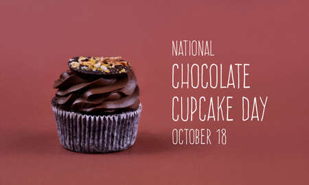 National Chocolate Cupcake Day stock images. Delicious chocolate cream cupcake on a brown background stock images. Chocolate Cupcake Day Poster, October 18. Important day