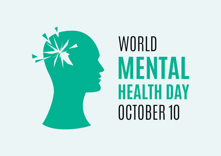 World Mental Health Day vector. Head of a man with mental illness vector. Broken head abstract icon. Mental health vector. Mental Health Day Poster, October 10. Important day 일러스트
