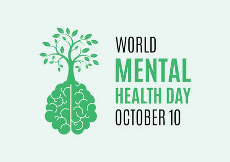World Mental Health Day vector. Human brain with a tree vector. Mental health icon vector. A green tree growing from human brain vector. Mental Health Day Poster, October 10. Important day